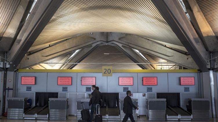 Une salle d'enregistrement à l'aéroport de Lyon Saint-Exupery, à Lyon (Rhône), le 2 avril 2012. (JEAN-PHILIPPE KSIAZEK / AFP)