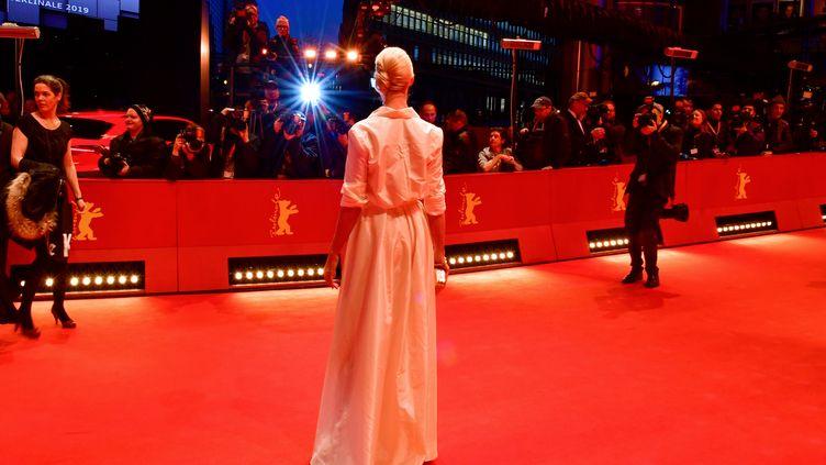 L'actrice australienne Feo Aladag pose sur le tapis rouge à la Berlinale le 16 février 2019. (TOBIAS SCHWARZ / AFP)