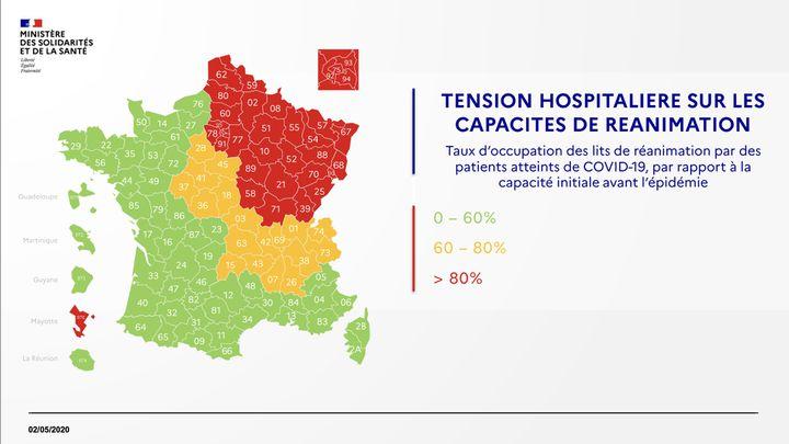 Carte des tensions hospitalière au 2 mai 2020. (DGS / FRANCEINFO)