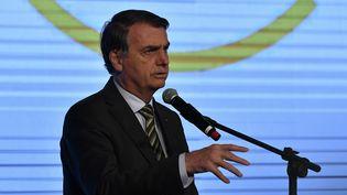 Le président brésiien, Jair Bolsonaro, le 21 août 2019 à Brasilia. (MATEUS BONOMI / AGIF / AFP)