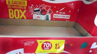 Un présentoir de Nutella vide après une promotion dans un magasin Intermarché de Toulouse (Haute-Garonne), le 26 janvier 2018. (NATHALIE SAINT-AFFRE / MAXPPP)