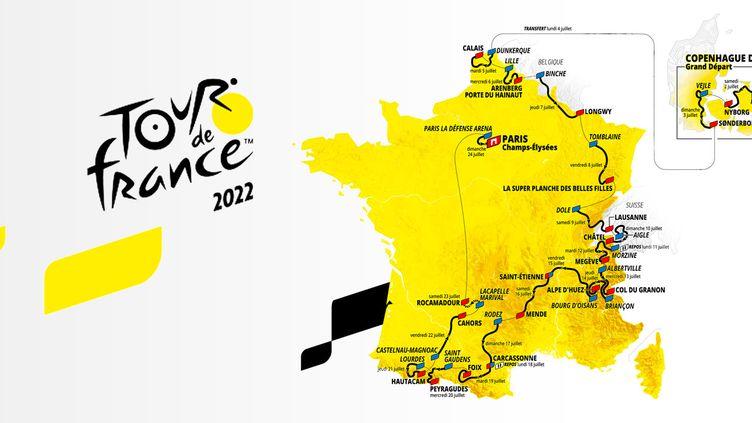 Le tracé du Tour de France 2022, dévoilé le jeudi 14 octobre 2021. (ASO)