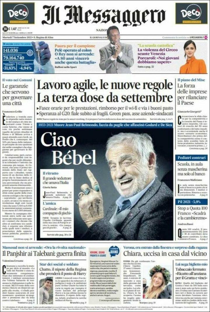 """La une d'""""Il Messaggero"""", le 7 septembre 2021. (IL MESSAGGERO)"""