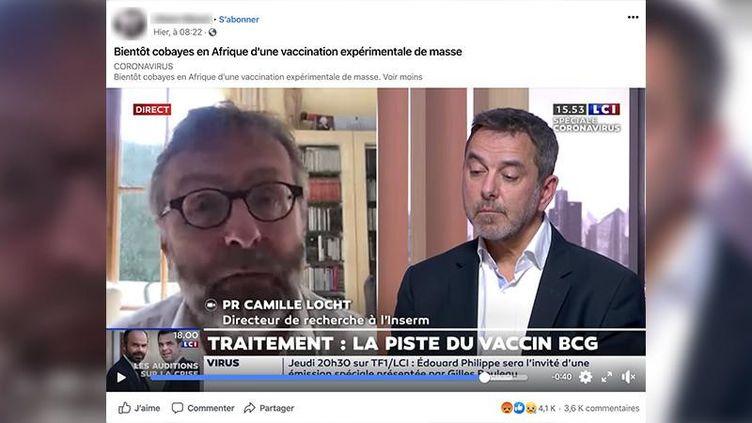 Capture d'écran d'un post Facebook, du 2 avril 2020, évoquant une vaccination expérimentale en Afrique. (CAPTURE D'ÉCRAN)