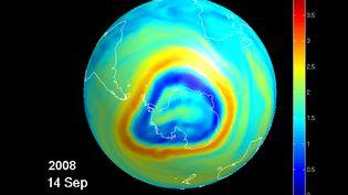 Le trou dans la couche d'ozone, modélisé le 16 septembre 2011. (BIRA - IASB / BELGA MAG / AFP)