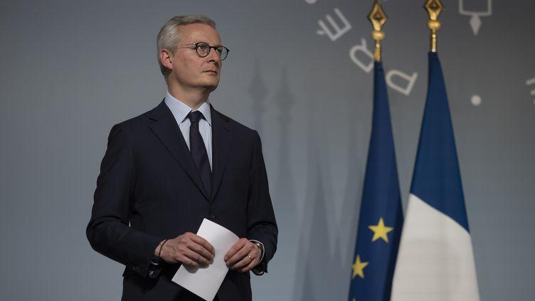 Le ministre de l'Economie Bruno Le Maire lors d'un point presse à l'Elysée après le Conseil des ministres, le 8 avril 2020. (MAXPPP)