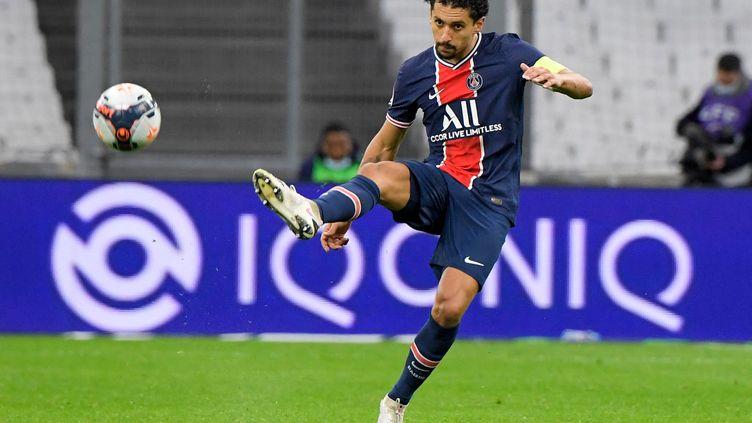 Marquinhos, le capitaine du PSG (07 février 2021). (NICOLAS TUCAT / AFP)