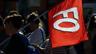 Une manifestante porte un drapeau du syndicat Force ouvrière, le 12 novembre 2018 à Toulouse, lors d'une manifestation contre la réforme de l'Education nationale. (ALAIN PITTON / NURPHOTO / AFP)