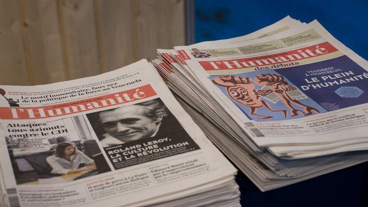 """Après dix mois de redressement judiciaire, le plan de continuation de """"L'Humanité"""" a été validé par le tribunal de commerce de Bobigny, a annoncé le directeur du journal, Patrick Le Hyaric, sur le site internet du journal, le 28 décembre 2019. (RICCARDO MILANI / HANS LUCAS / AFP)"""