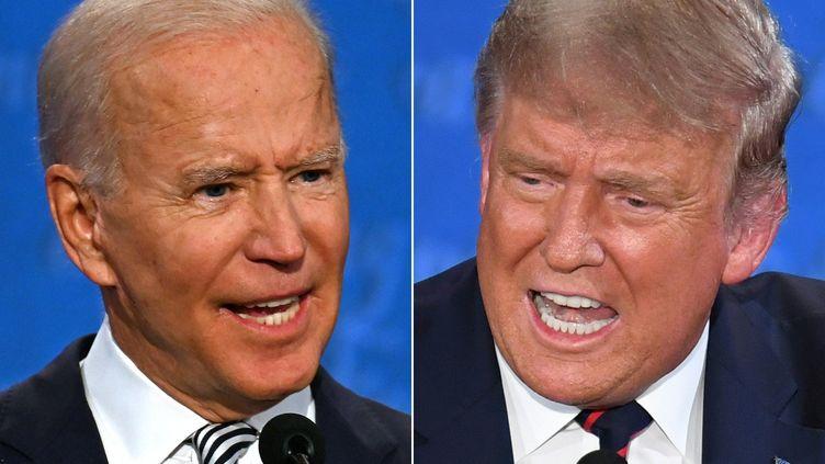 Joe Biden à gauche, et Donald Trump, à droite, sont en lice dans cette présidentielle américaine. (JIM WATSON / AFP)