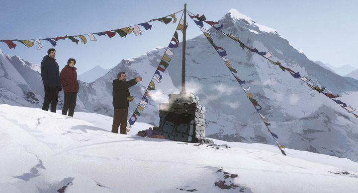 Habu, Fukamachi et un sherpa à la base du mont Everest (ALLOCINE / WILD BUNCH DISTRIBUTION)