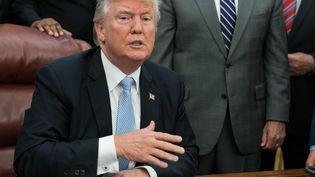 Le président des Etats-Unis, Donald Trump, lors d'une conférence de presse sur la tempête Harvey, le 1er septembre 2017, à la Maison Blanche. (NICHOLAS KAMM / AFP)