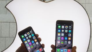 Un homme présente l'Iphone 6 et l'Iphone 6S devant un logo d'Apple, à Munich, le 19 septembre 2014. (PETER KNEFFEL / DPA)