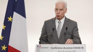 Le ministre délégué aux PME Alain Griset lors d'une conférence de presse le 26 novembre 2020. Photo d'illustration. (LUDOVIC MARIN / POOL / AFP)