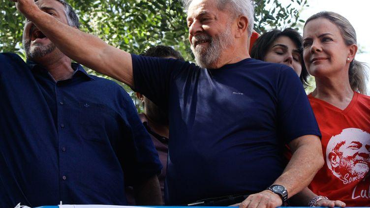 L'ancien président brésilien, Luis Inacio Lula da Silva, le 7 avril 2018 à Sao Paulo (Brésil). (FOTORUA / NURPHOTO)