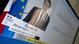 Le ministre de la Santé, Olivier Véran, intervient sur France 2, le 19 avril 2020, pour parler de l'épidémie de coronavirus. (RICCARDO MILANI / HANS LUCAS / AFP)