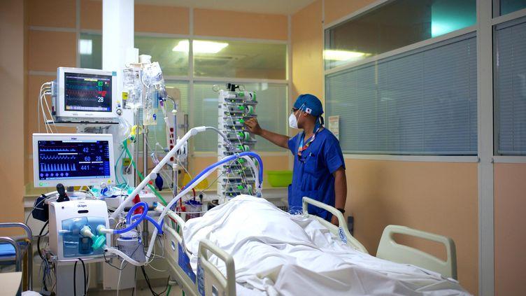 Un soignant s'occupe d'un patient atteint du Covid-19 à l'hôpital des Abymes, à Pointe-à-Pitre, en Guadeloupe, le 6 août 2021. (CEDRICK ISHAM CALVADOS / AFP)