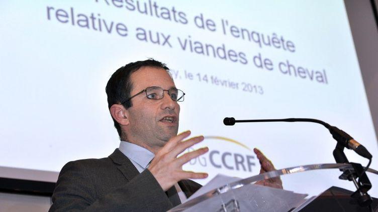 Le ministre délégué à la Consommation, Benoît Hamon, lors d'une conférence de presse sur l'affaire de la fraude à la viande de cheval, le 14 février 2013 à Paris. (MEHDI FEDOUACH / AFP)