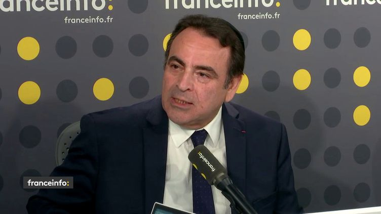 Le président du Consistoire israélite de France, Joël Mergui, dans le studio de franceinfo, le 24 avril 2018. (FRANCEINFO / RADIOFRANCE)