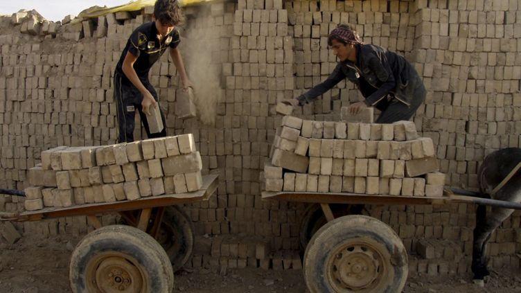 Des enfants irakiens chargent leurs charrettes de briques dans une usine près de Najaf, le 18 novembre 2018. (HAIDAR HAMDANI / AFP)