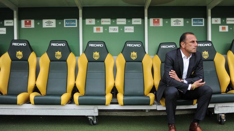 Le banc de touche vide du FC Nantes (JEAN-SEBASTIEN EVRARD / AFP)