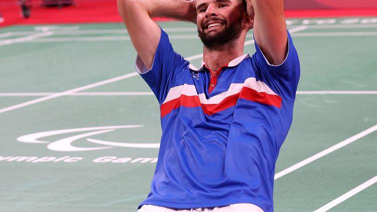 Lucas Mazur, sacré champion paralympique en para badminton, catégorie SL4, le dimanche 5 septembre 2021 à Tokyo. (G. Picout (CPSF))