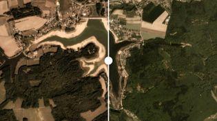 Le réservoir de Bouzet, dans les Vosges, photographié le 23 mai et le 12 septembre 2019. (PLANET LABS, INC)