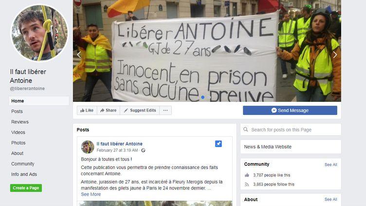 Capture d'écran de la page Facebook créée pour soutenir la famille d'AntoineAzzolin, incarcéré à Fleury-Mérogis. (CAPTURE D'ECRAN / FACEBOOK)