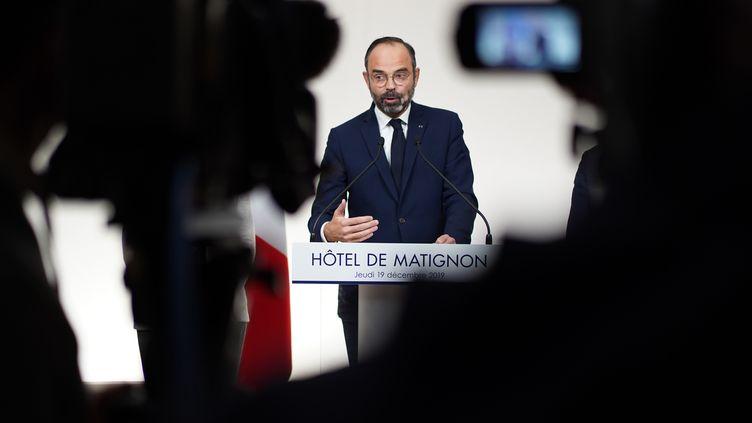 Edouard Philippe évoque la réforme des retraites à Matignon, le 19 décembre 2019. (MARTIN BUREAU / AFP)