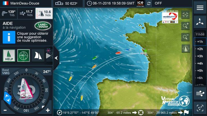 """Capture d'écran de la page de navigation du jeu """"Virtual Regatta"""", où on peut notamment régler le cap de son bateau en fonction du vent. (VIRTUAL REGATTA)"""