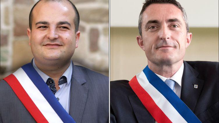 Les deux sénateurs du Front national David Rachline (G) et Stéphane Ravier. (JEAN-CHRISTOPHE MAGNENET / BERTRAND LANGLOIS / AFP)