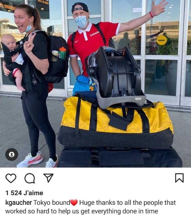 La basketteuse canadienne Kim Gaucher accompagnée de son mari et leur enfant, le 12 juillet2021,en partance pour Tokyo (Japon). (INSTAGRAM)