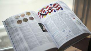 """Un exemplaire de l'édition 2015 du """"Petit Larousse"""", le 21 mai 2014 à Paris (photo d'illustration). (FRED DUFOUR / AFP)"""