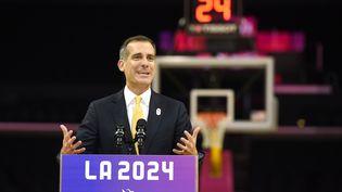 Casey Wasserman, le président du comité de candidature de Los Angeles à l'organisation des JO-2024, lors d'une conférence de presse en Californie (Etats-Unis), le 10 mai 2017. (KEVORK DJANSEZIAN / GETTY IMAGES NORTH AMERICA / AFP)
