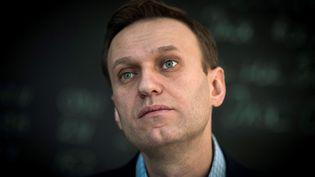 L'opposant russe Alexei Navalny, le 16 janvier 2018, lors d'une interview à l'AFP (MLADEN ANTONOV / AFP)