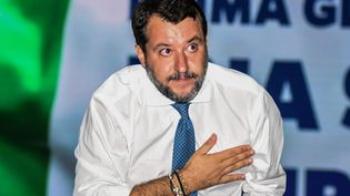 Le leader de la Ligue, Matteo Salvini, lors d'une interview à Catane (Italie), le 2 octobre 2020. (FRANCESCO MILITELLO MIRTO / NURPHOTO / AFP)