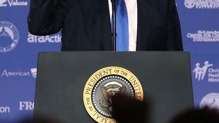 Le président des Etats-Unis, Donald Trump, le 13 octobre 2017 à Washington (Etats-Unis). (MARK WILSON / GETTY IMAGES NORTH AMERICA / AFP)