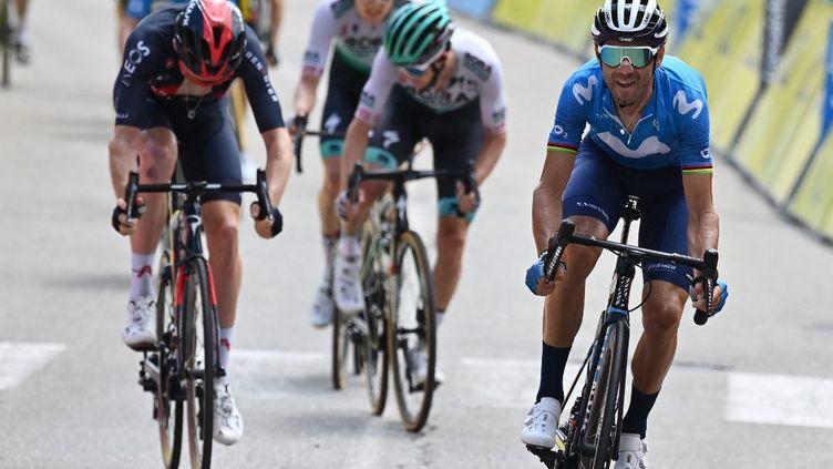 L'Espagnol Alejandro Valverde remporte la 6e étape du Dauphiné-Libéré à Sappey-en-Chartreuse, vendredi 4 juin. (DAVID STOCKMAN / BELGA MAG)