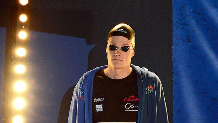 Yannick Agnel arrive sur le bassin après être passé en chambre d'appel