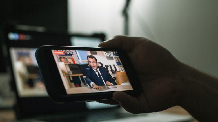 Le président de la République, Emmanuel Macron, le 4 décembre 2020. (DAVID HIMBERT / HANS LUCAS / AFP)
