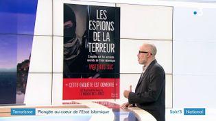 Matthieu Suc et la couverture de son livre (France 3)