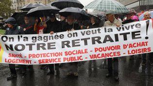 Manifestation contre la réforme des retraites à Paris, le 8 octobre 2019. (JACQUES DEMARTHON / AFP)