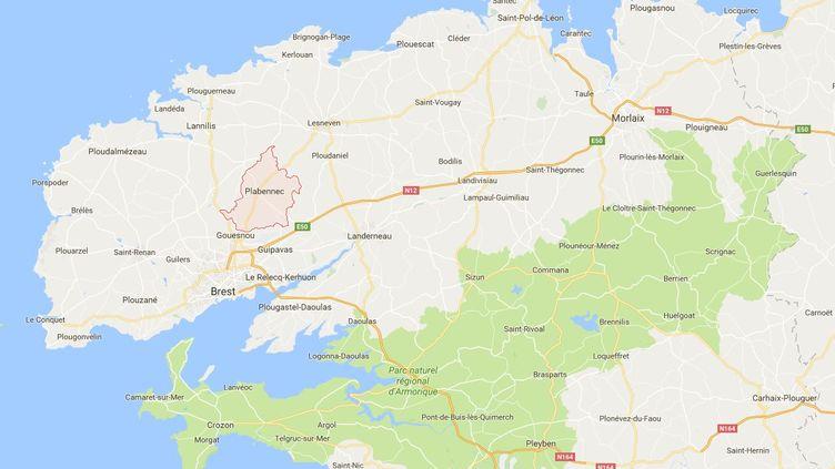 L'épicentre du séisme a étélocalisé à Plabennec (Finistère), selon le Réseau national de surveillance sismique. (CAPTURE D'ECRAN GOOGLE MAPS / FTVI)