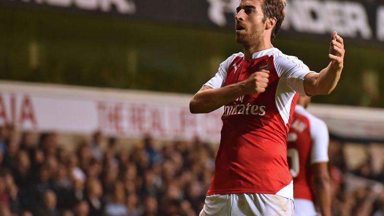 Mathieu Flamini durant un match d'Arsenal contre Tottenham, pendant laCoupe de la Ligue anglaise à Londres, le 23 septembre 2015. (BEN STANSALL / AFP)