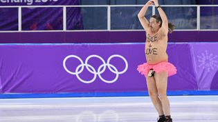 Un homme a fait irruption sur la glace de la patinoire deGangneung (Corée du Sud), durant les Jeux olympiques, le 23 février 2018. (MLADEN ANTONOV / AFP)
