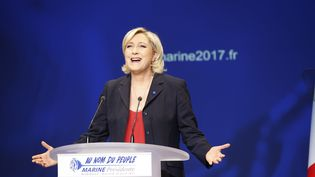 Marine Le Pen, présidente du Front national, en meeting à Marseille, le 19 avril 2017. (MAXPPP)