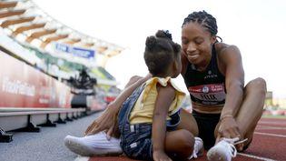 La sextuple championne olympique Allyson Felix a donné naissance à sa fille Camryn en novembre 2018. (STEPH CHAMBERS / Getty Images via AFP)