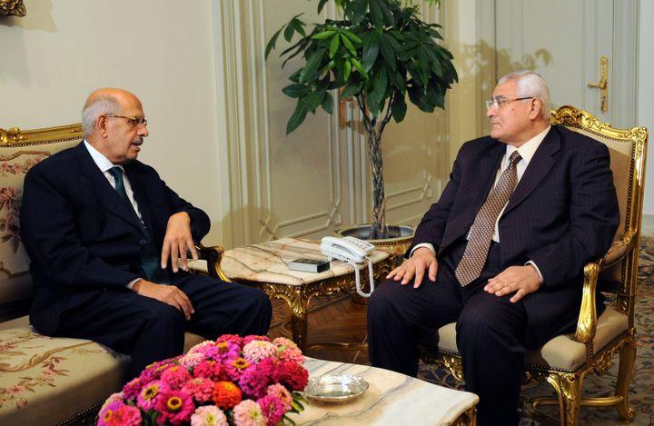Mohamed El-Baradei (G) discute avec le président égyptien par intérim Adly Mansour, au Caire (Egypte), le 6 juillet 2013. (EGYPTIAN PRESIDENCY / AFP)