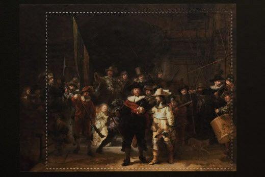 Photographie du tableauLa Ronde de Nuit de Rembrandt, avec des lignes qui montrent les parties manquantes ayant été reconstituées grâce à l'intelligence artificielle (PETER DEJONG/AP/SIPA / SIPA)