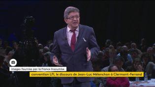 Jean-Lucc Mélenchon, lors de la convention de la France insoumise, samedi 25 novembre àClermont-Ferrand (Puy-de-Dôme) (FRANCEINFO)